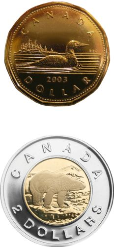 Loonies and Toonies - Canadian Dollar Coins
