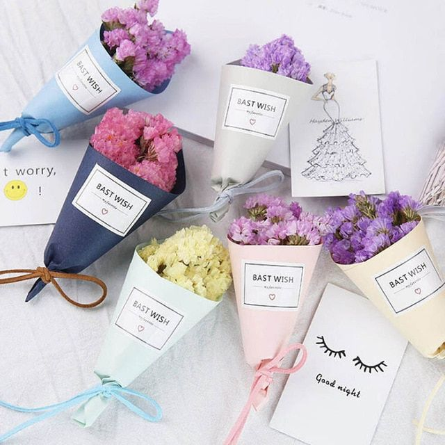 Mini One Bunch Lavender Flower Forget Me Not Bouquet Natural Dried Flower Wedding Decorative Flowers Shop Home Decor Review Dried Lavender Flowers Dried Bouquet