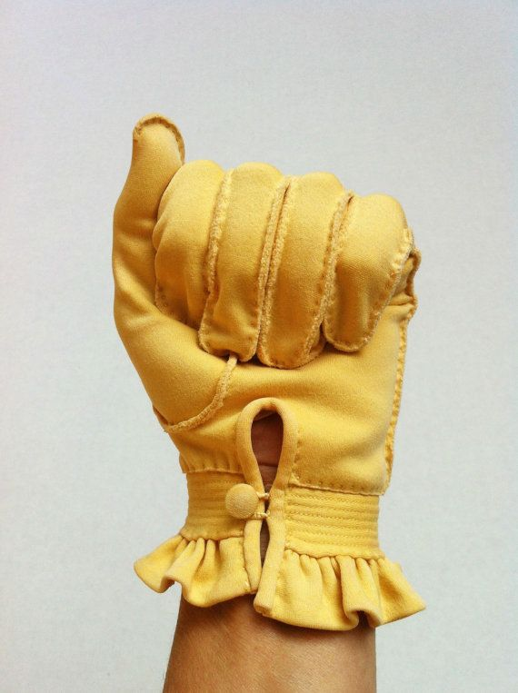 Vintage Yellow Gloves