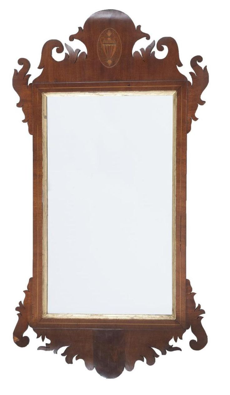 ANTIQUE AMERICAN CHIPPENDALE MIRROR Circa 1800 In Mahogany Veneer With Gilt  Liner. Oval Urn Inlay. Antique FurnitureMassachusettsAuctionMirrors