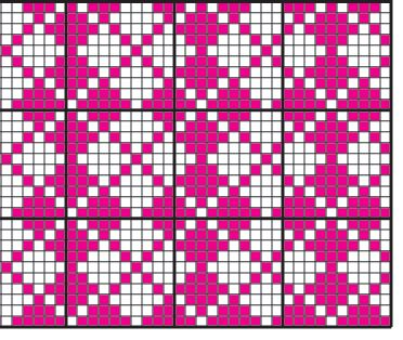 Argyle chart--1 stitch shared at top bottom, 1 stitch at side, with gap of 1 stitch.        The question is how many stitches to go down to at the side and end points of the diamond and how many, if any to put between diamonds.