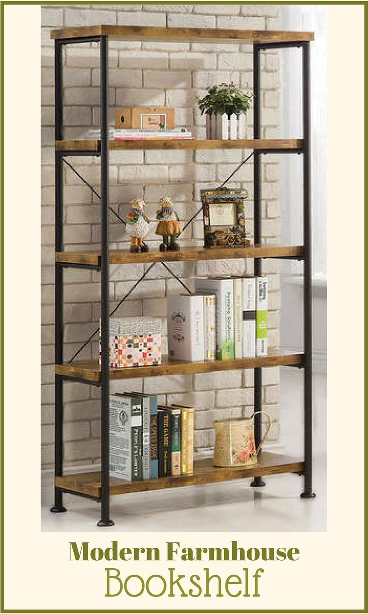 This Modern Farmhouse Bookshelf Is A Great Size It Can Be Used In Your Bedroom Family Room Or Estanteria Hierro Y Madera Muebles Hogar Decoracion De Estante