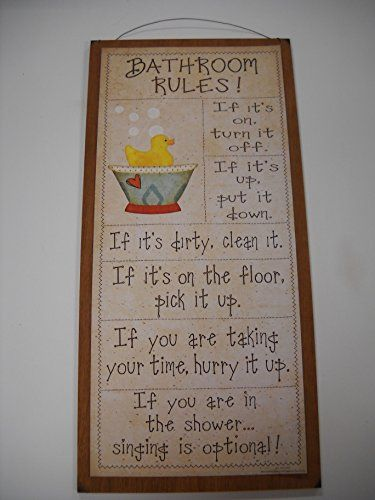 Rubber Duck Bathroom Rules Outhouse Country Wooden Wall Art Sign Kids Bath Decor * Continue to the product at the image link.