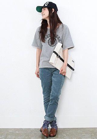 キャップ+グレーロゴTシャツのアメカジ ◇◆ボーイッシュ系タイプのファッション スタイルの参考コーデ◆◇