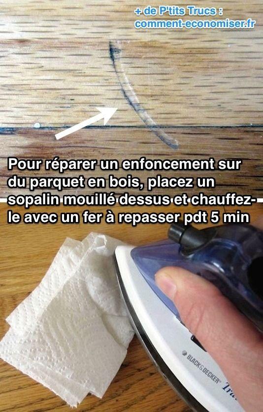 L'astuce pour réparer les enfoncements sur du parquet en bois