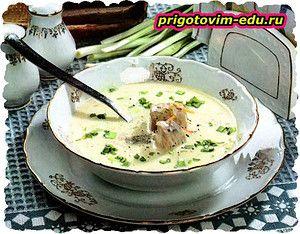 Суп лососевый с плавленым сыром