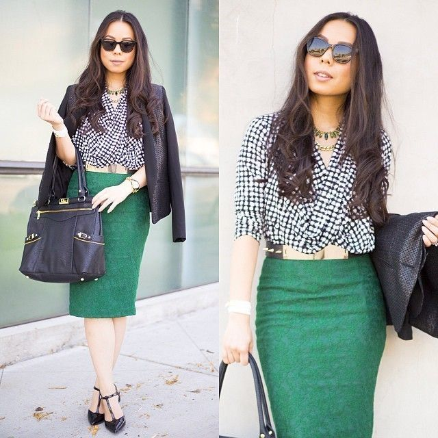 green and either navy blue or black are a great color combo. work outfit perfect for the office