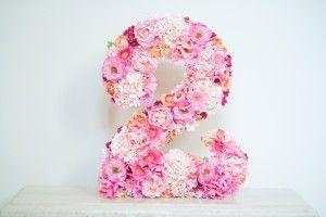 "Floral ""2"" from a Pink Carousel Birthday Party via Kara's Party Ideas! KarasPartyIdeas.com (22)"