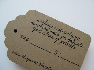 Custom clothing and accessorie tags with washing instructions, size, price and more