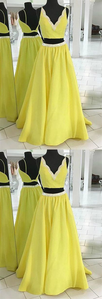 Yellow Two Pieces V Neck Prom Dresses,A Line Satin Evening Dresses
