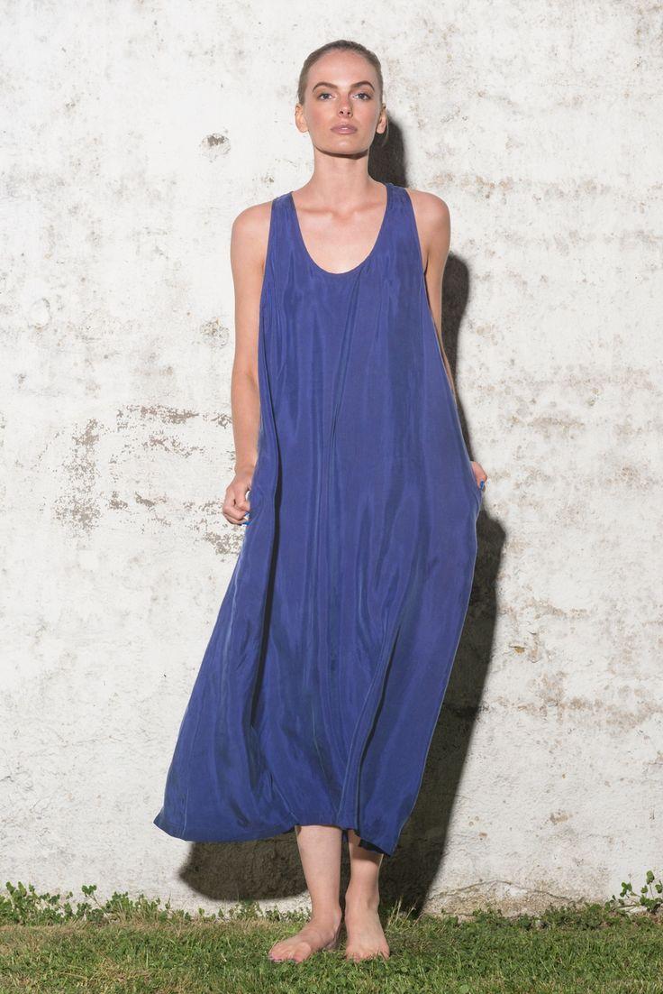 Mid Blue Maxi Cupro Dress