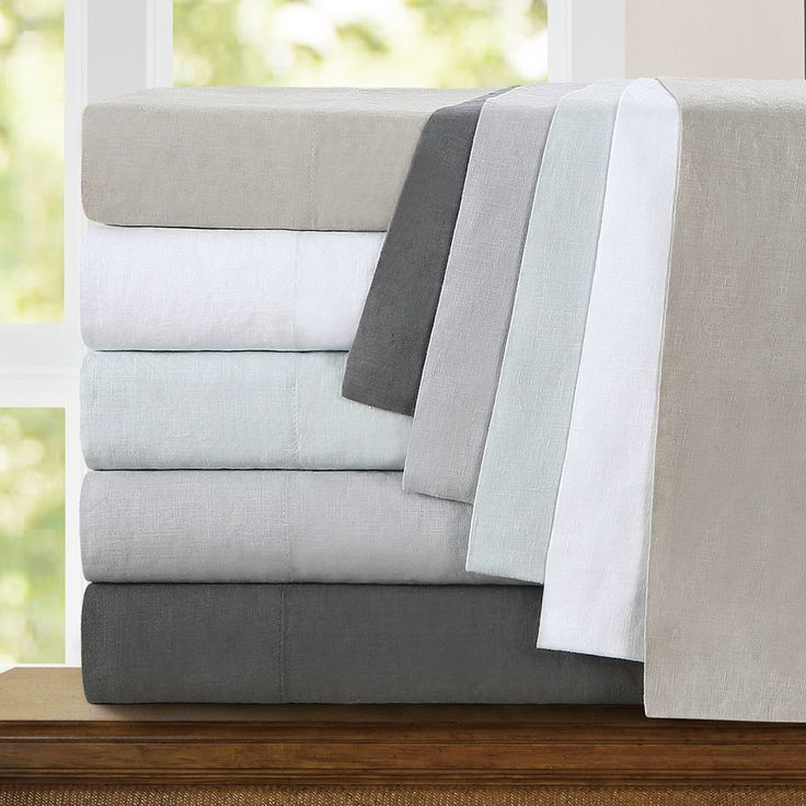 Echelon Home Washed Belgian Linen King Size Sheet Set