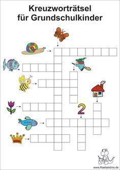 Bildkreutzworträtsel für Grundschule Kinder