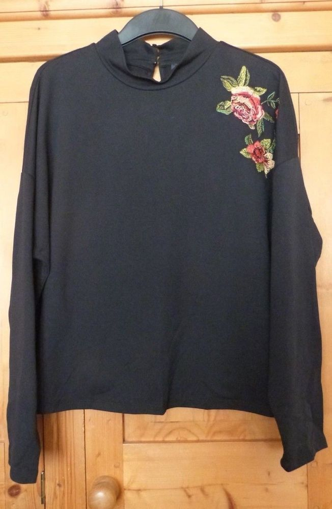 Ladies Black Long Sleeve Hi Neck Embroidered Sweat Top Size 16 M  fashion   clothes  shoes  accessories  womensclothing  activewear  ad (ebay link) 630f4879c