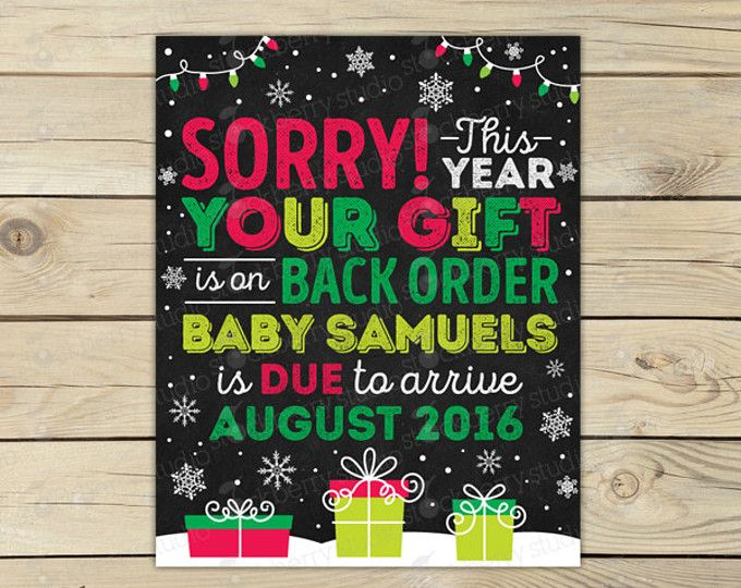 Christmas Pregnancy Announcement Printable - Holiday Baby Announcement Chalkboard Sign - Pregnancy Reveal to Grandparents - Were Expecting
