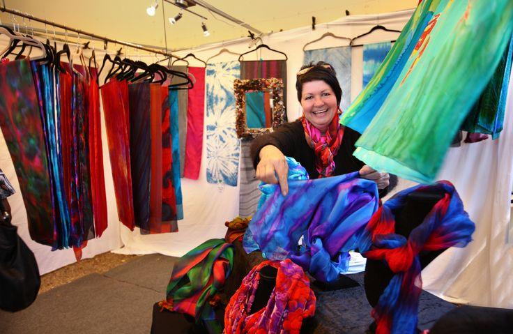 the talents of silk artist Julie Gardner at Eumundi Markets, Sunshine Coast every Wednesday and Saturday