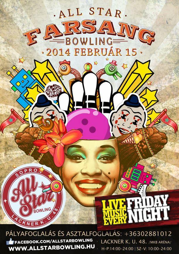 Carnival flyer poster design bowling by darellart.hu