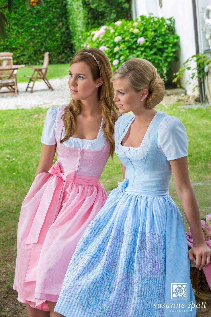 Susanne Spatt - Dirndl Marie linen rosa melé, cotton panel skirt (DKS14400-BK) Dirndl Marie linen sky blue melé, cotton skirt handprinted (DKS14401-K)
