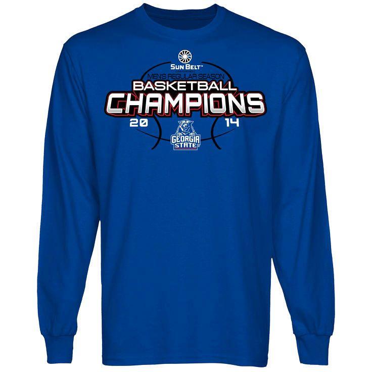 Georgia State Panthers 2014 Sun Belt Men's Regular Season Basketball Champions Long Sleeve T-Shirt - Royal Blue - $25.99