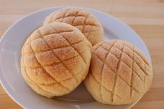 Recipe for Japanese Melon Bread.  Buns covered with cookie. These are SO good!
