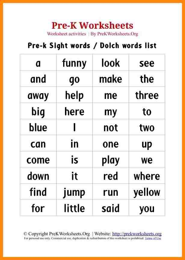 Image Result For Kindergarten Site Words List Printable