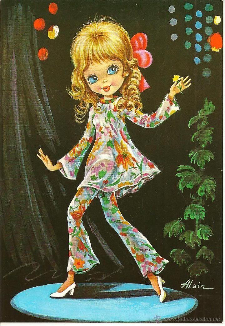 Bonita postal: Bailarinas. Edita CyZ. nº 7060. Deposito legal del año 1969. Dibujo Alain