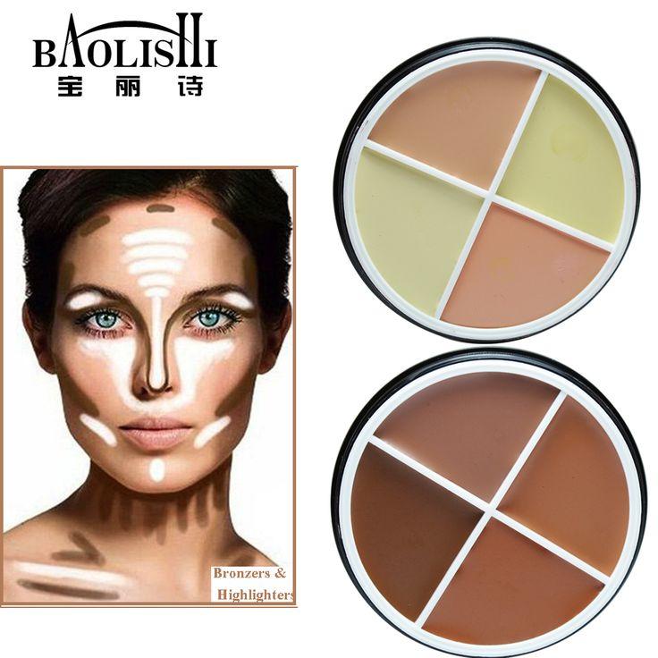 Baolishi Tahan Air Matte Brightening Concealer Bubuk Bronzer Highlighter Penanda untuk Wajah Palette terbaik merek makeup