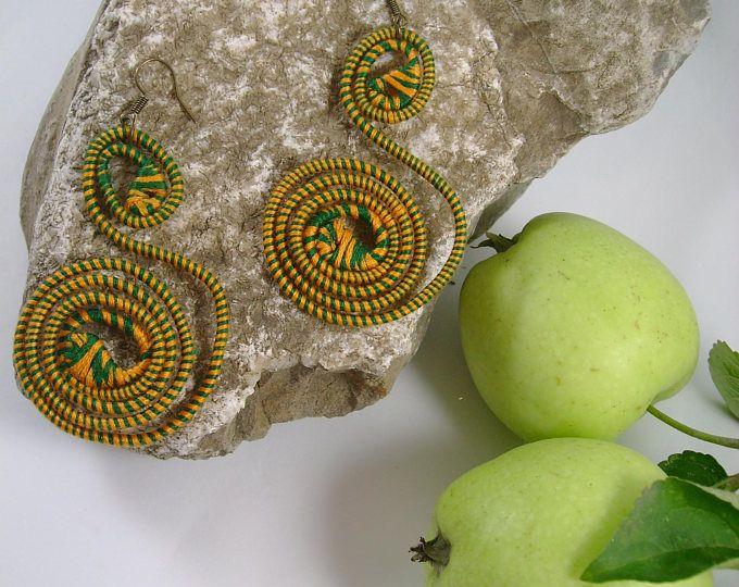Green Summer yarn-wrapped earrings/ green&yellow/ cotton yarns/ thread-wrapped/ handmade/
