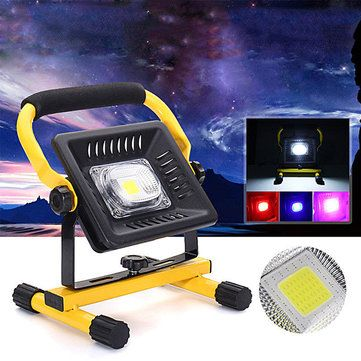 50W Portable Rechargeable LED Flood Light Outdoor Camping Lamp with 4 Modes AC100-240V