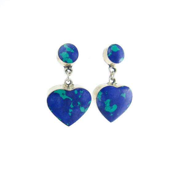 Vintage Azurite Heart Earrings Malachite by RETRORAGEVICTORIA
