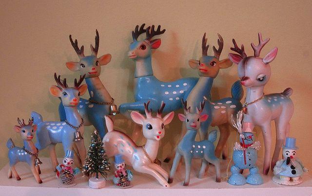 More vintage blue reindeer! by artgoodieshome, via Flickr
