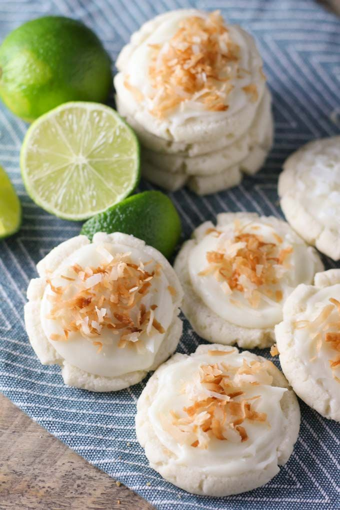 Coconut and Lime Swig Sugar Cookies - a lime flavored cookie with a white chocolate coconut frosting.  Baked in AZ