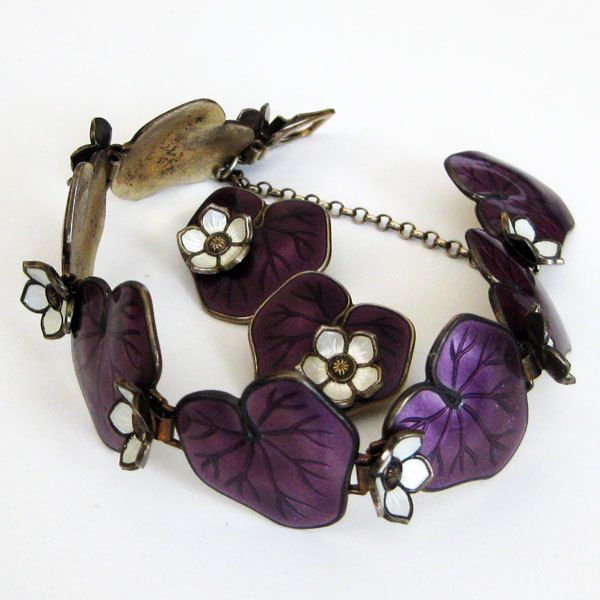 Vintage David-Andersen Waterlily Set Purple Bracelet Earrings Sterling Enamel Norway from Quick Red Fox Exclusively on Ruby Lane