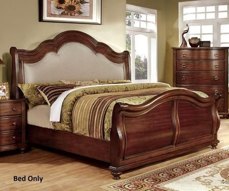 Bellavista Collection CM7350H-Q-BED Queen Size Bed with Nailhead Trim Padded Fabric Headboard Solid Wood and Wood Veneers Construction in Brown Cherry Finish