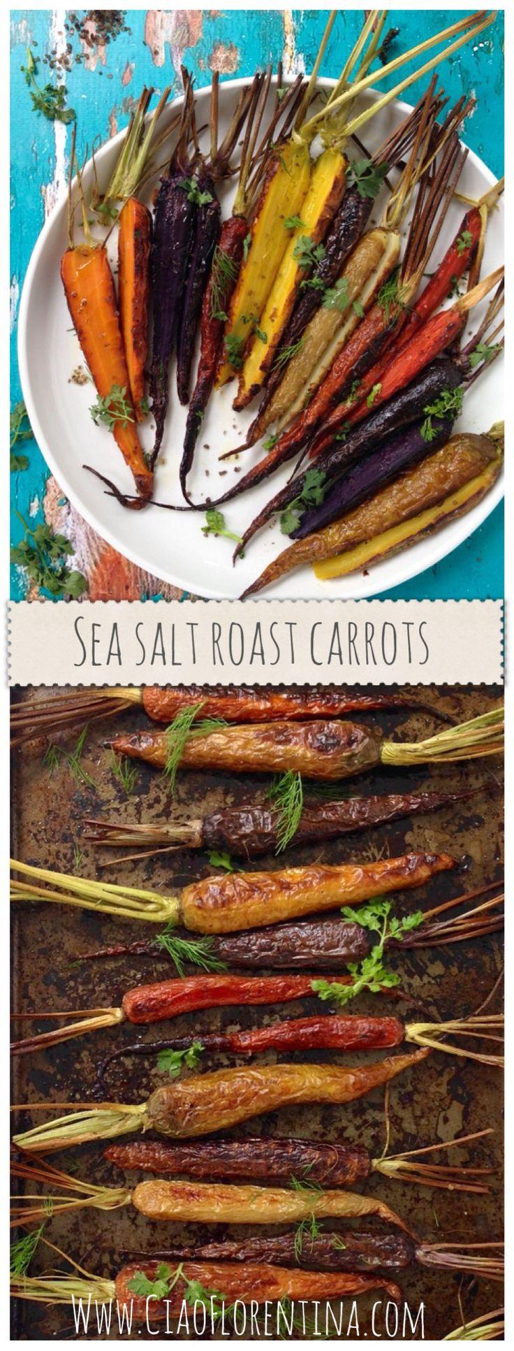 Sea Salt Roast Carrots Recipe , the perfectly roast heirloom carrots sprinkled with coarse sea salt flakes, and fresh herbs. #Sea_salt #Roasted #Carrots #Truffle_salt #Vegetarian #Italian