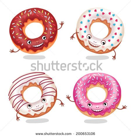 Set of funny donuts. Vector illustration. - stock vector