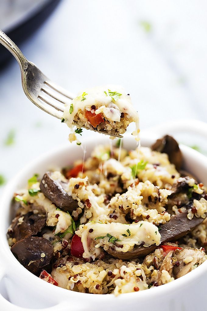 Slow Cooker Mushroom Quinoa - don't add the cheese and it's vegan!