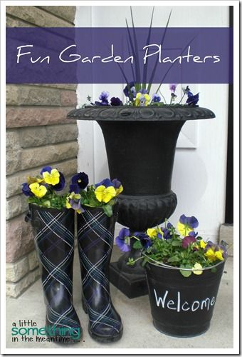 BOOTS! I drilled holes in the bottom for drainage, added a layer of rocks so that they wouldn't tip over, filled the height of each boot with newspaper and then added soil and pansies to the top. Next time, I would like to add a trailing plant to each boot as well.