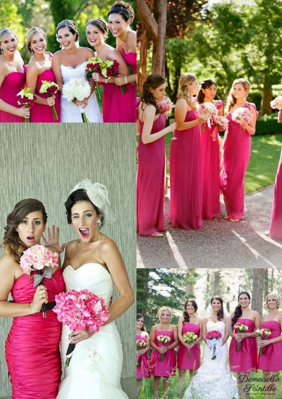 bridesmaid dresses  robes de demoiselle d'honneur fushia