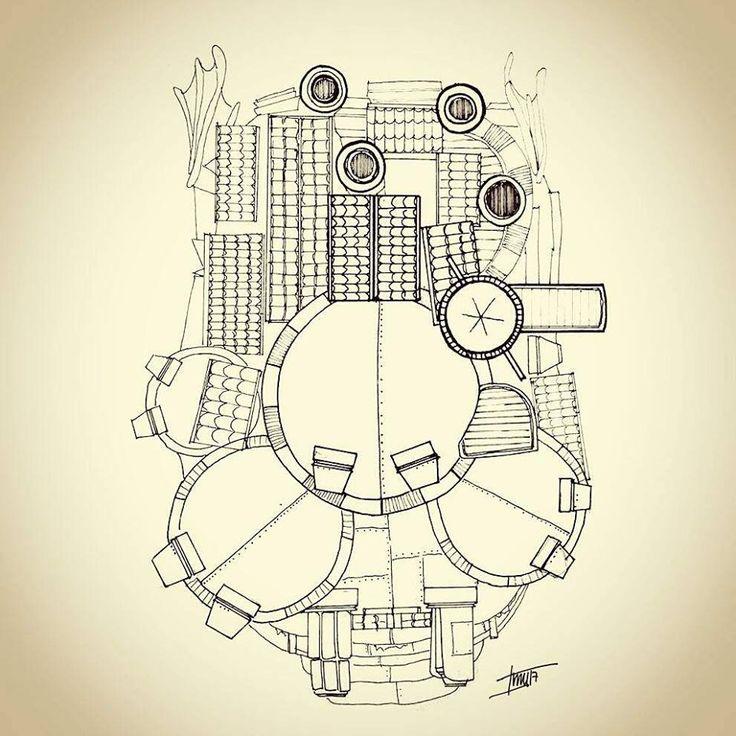 Planimetria, planta cubierta. Howl no Ugoku Shiro / ハウルの動く城 / El castillo ambulante -Studios Ghibli- (camiconcas /arq_cfcc)