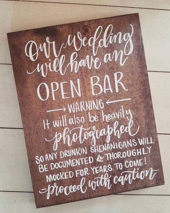 Rustic Wedding Sign, Open Bar Sign, Wooden Wedding Sign, Wedding Decor | 15x11
