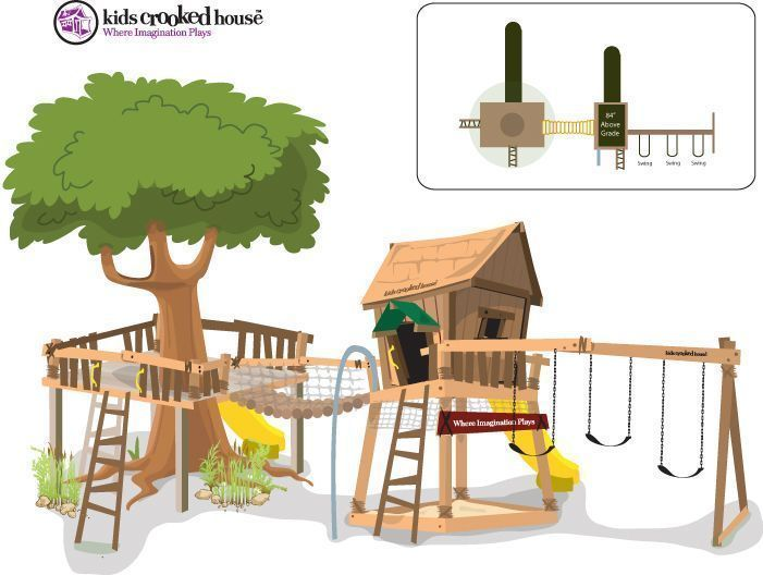 We have 1 half of this...maybe change location and use tree? #outdoorplayhouseideas #backyardplayhouse
