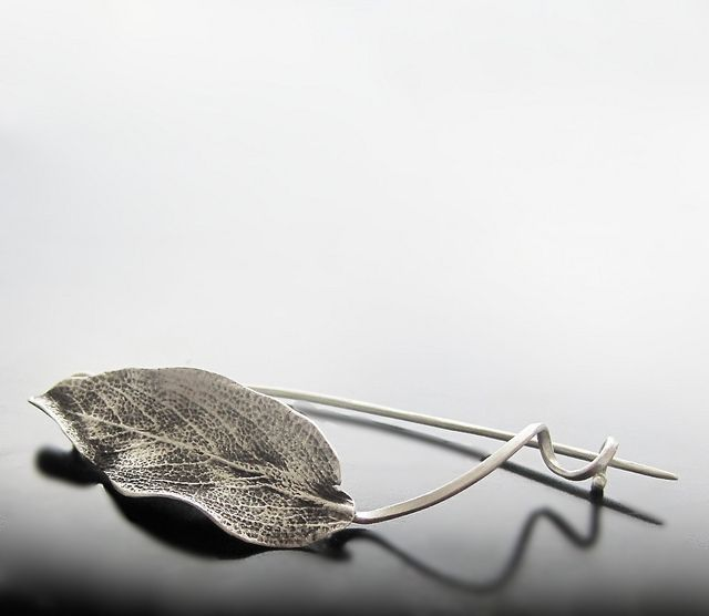 Sage leaf fibula by Maria Apostolou, simple and elegant