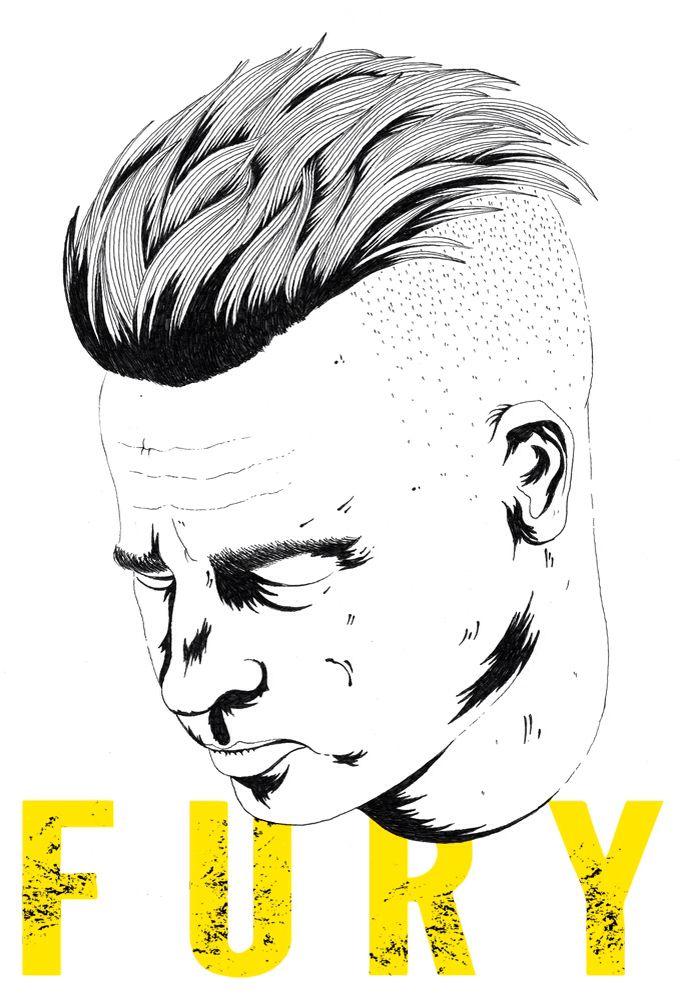Brad Pitt, Fury. Hand drawn illustration by Chris Arrowsmith http://www.chris-arrowsmith.co.uk/2014