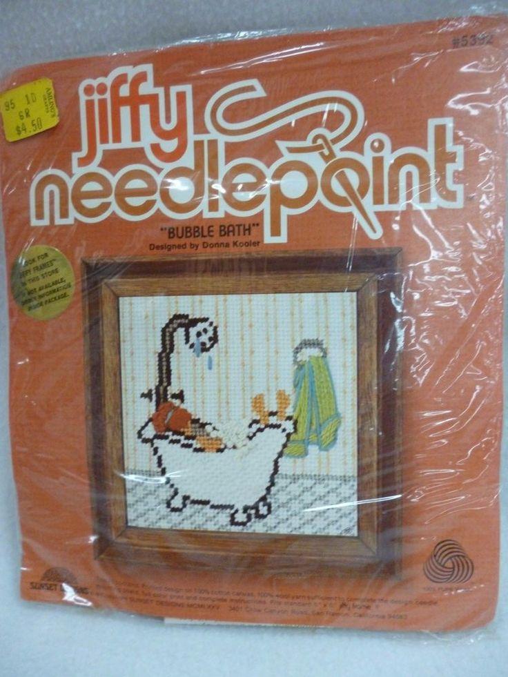 "VINTAGE JIFFY NEEDLEPOINT KIT #5392 SUNSET DESIGNS BUBBLE BATH 5""X 5"" COMPLETE  #Jiffy"