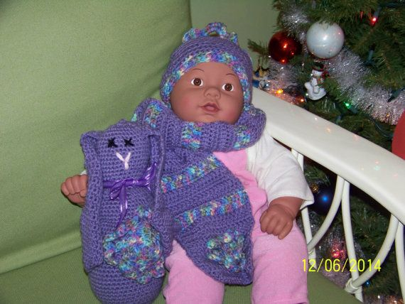 Lavender hat and scarf set for baby size 6 by MadeinMassachusetts