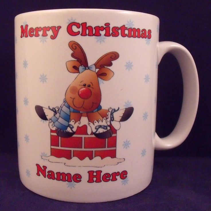 Personalised Christmas Reindeer Mug - Coaster - Cup - Novelty - Xmas - Gift