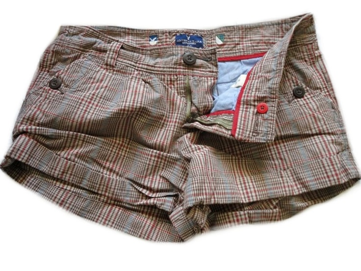 American Eagle Womens Girls Plaid Short Shorts 10