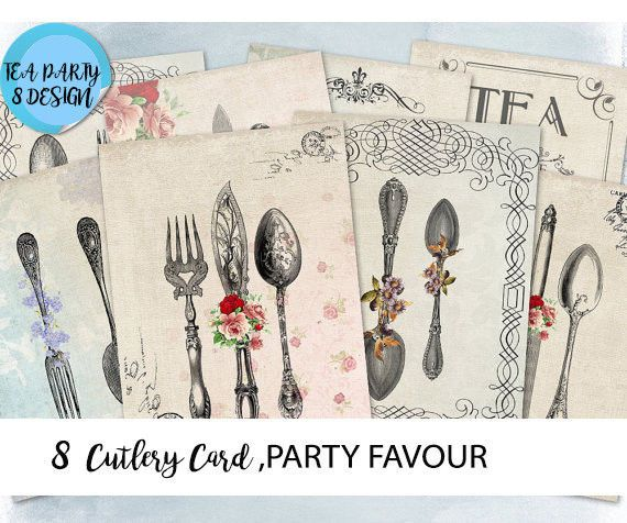8x Cutlery paper ephemera,scrapbook,Tea Party Theme Favour Tags,Baby Shower Tag