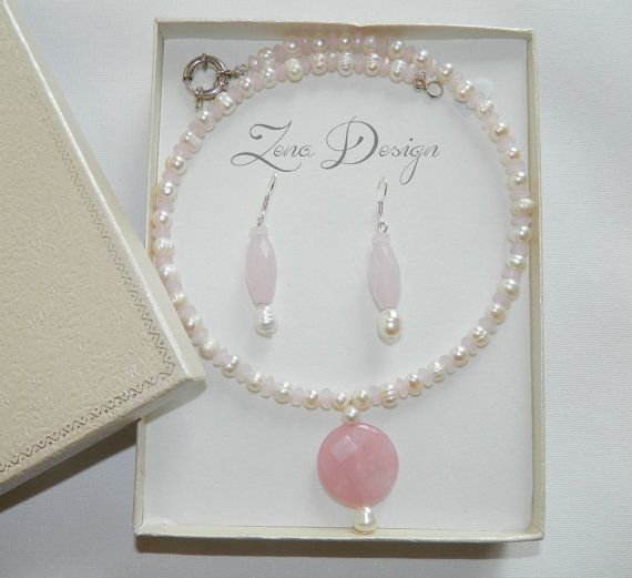 Necklace and earrings cultured pearls and pink by ZenaDesign
